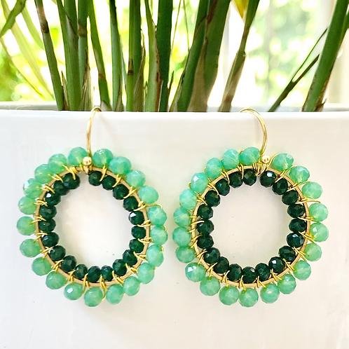 Mint Green & Emerald Green Double Beaded Round Earrings
