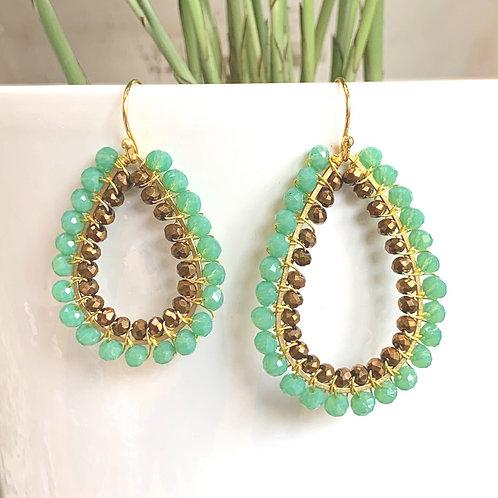 Mint Green & Bronze Double Beaded Teardrop Earrings
