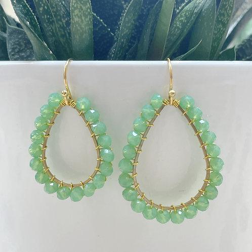 Mint Green Teardrop Beaded Earrings