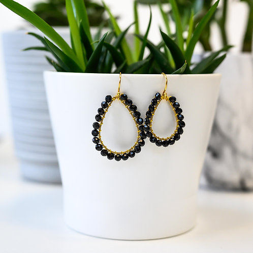 Black Teardrop Beaded Earrings