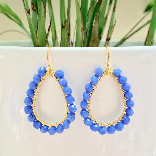 Cornflower Blue Teardrop Beaded Earrings