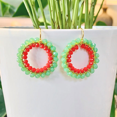 Mint Green & Ruby Red Double Beaded Round Earrings
