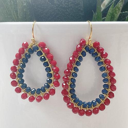 Ruby Red & Midnight Blue Double Beaded Teardrop Earrings