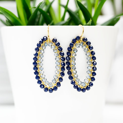 Midnight Blue & Translucent Double Beaded Oval Earrings