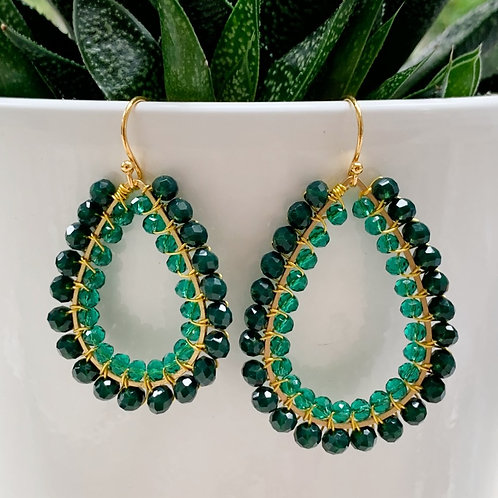 Emerald Green & Sparkly Teal Double Beaded Teardrop Earrings