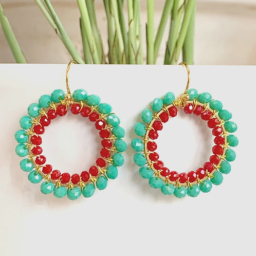 Seafoam & Ruby Red Double Beaded Round Earrings