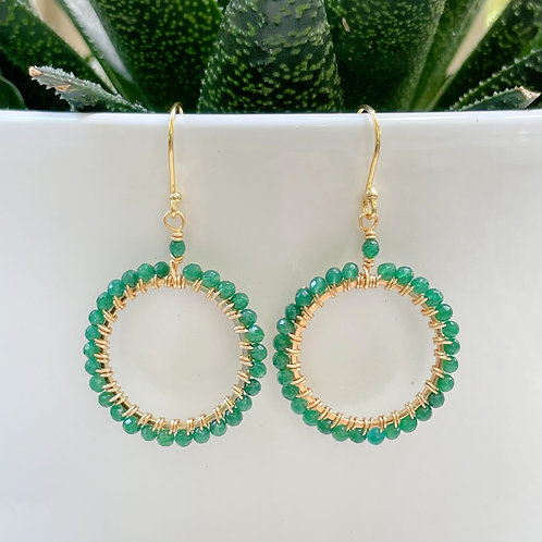 Emerald Green Jade Round Beaded Earrings