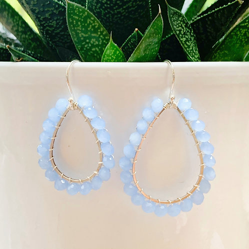 Pale Blue Beaded Teardrop Earrings (Silver)