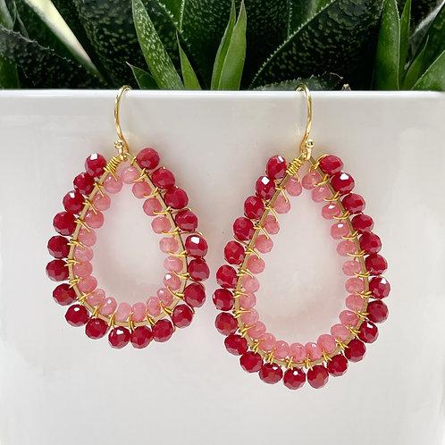 Ruby Red & Candy Pink Agate Double Beaded Teardrop Earrings