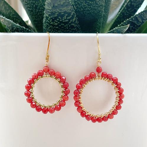 Red Round Beaded Earrings