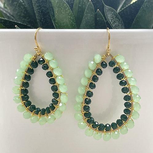 Pale Mint Green & Emerald Green Double Beaded Teardrop Earrings