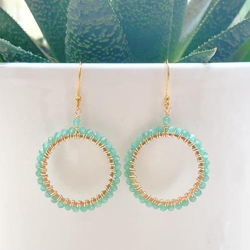 Pale Green Jade Round Beaded Earrings