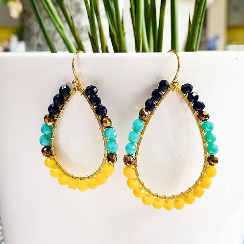 Oxford Blue, Turquoise & Yellow Teardrop Beaded Earrings