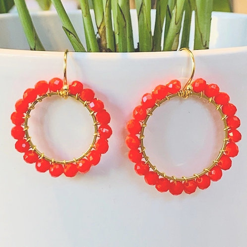 Blood Orange Round Beaded Earrings