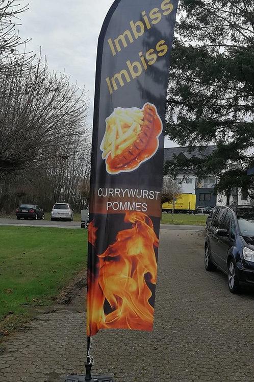Imbiss Currywurst Pommes Beachflag BF0108