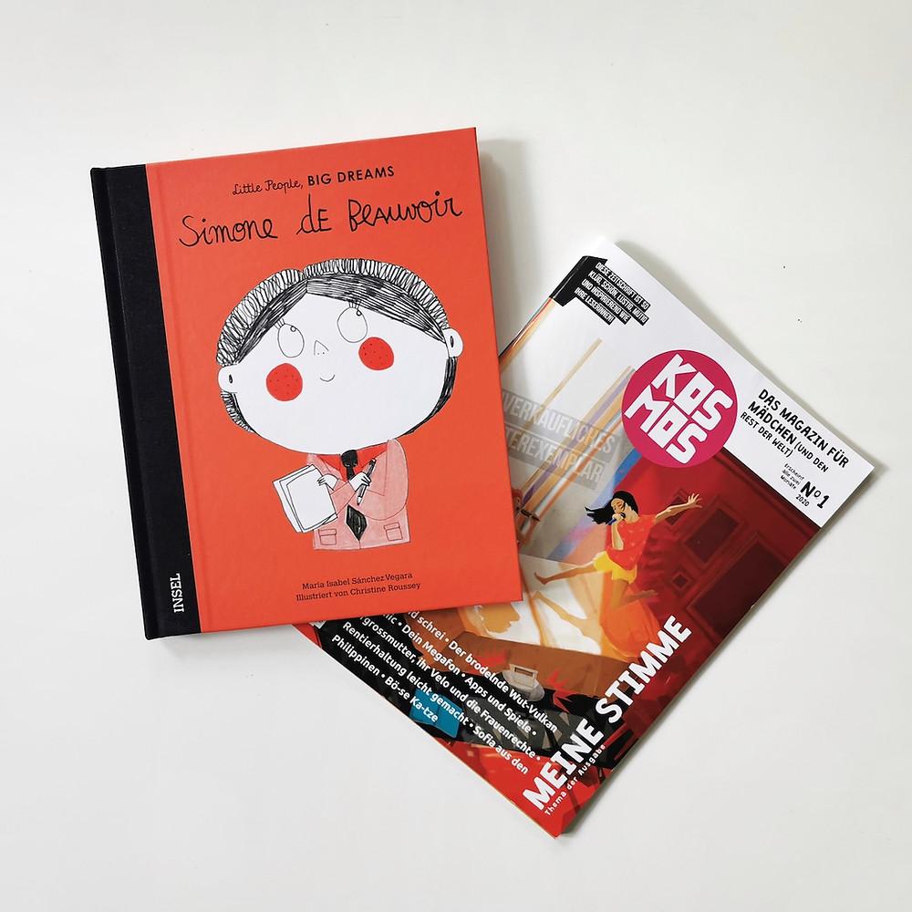 MINT & MALVE Buchtipp: Simone de Beauvoir - Little People, Big Dreams und KOSMOS - Zeitschrift für Mädchen