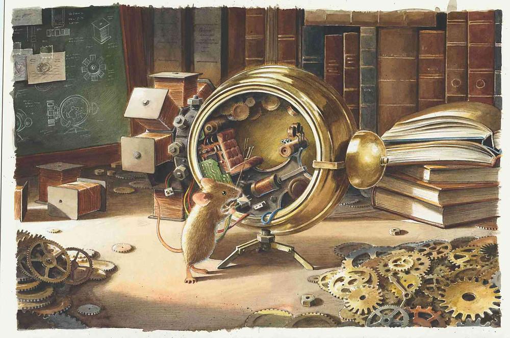 """Illustration Torben Kuhlmann, aus """"Einstein"""" (NordSüd Verlag, 2020): Die Zeitmaschine"""