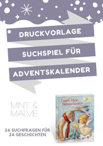 Druckvorlage MINT & MALVE: Suchspiel für Adventskalender