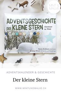 """Buchtipp MINT & MALVE: Adventsgeschichte """"Der kleine Stern"""", Abenteuer im Wald, Karin Fröhlich und Eveline Moser. Geschichte in 24 Kapitel mit Holzstern, Fingerpuppen und Stickern zum Einkleben."""
