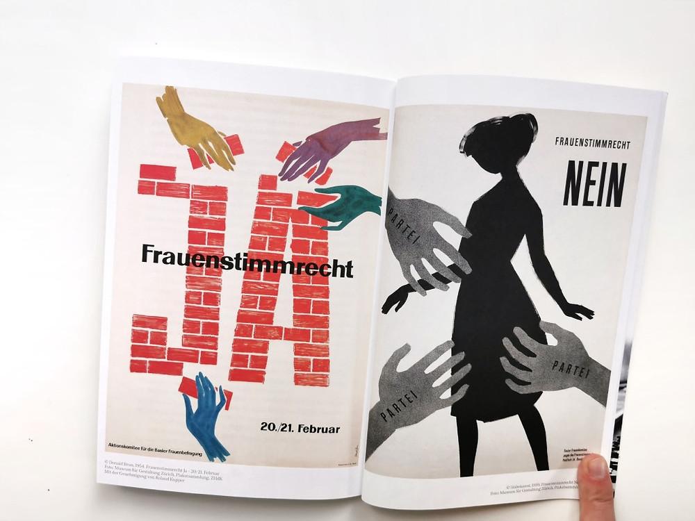 Abstimmungsplakate für und gegen das Frauenstimmrecht, aus: Der Tag, an dem die Männer Nein sagten