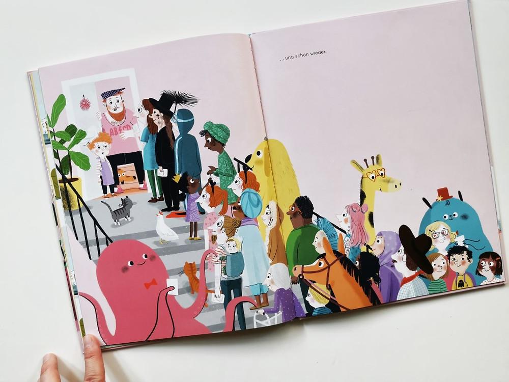 """So bunt ist das Kuchenfest in """"Roberts weltbester Kuchen"""" von Anne-Kathrin Behl (NordSüd Verlag 2020)"""