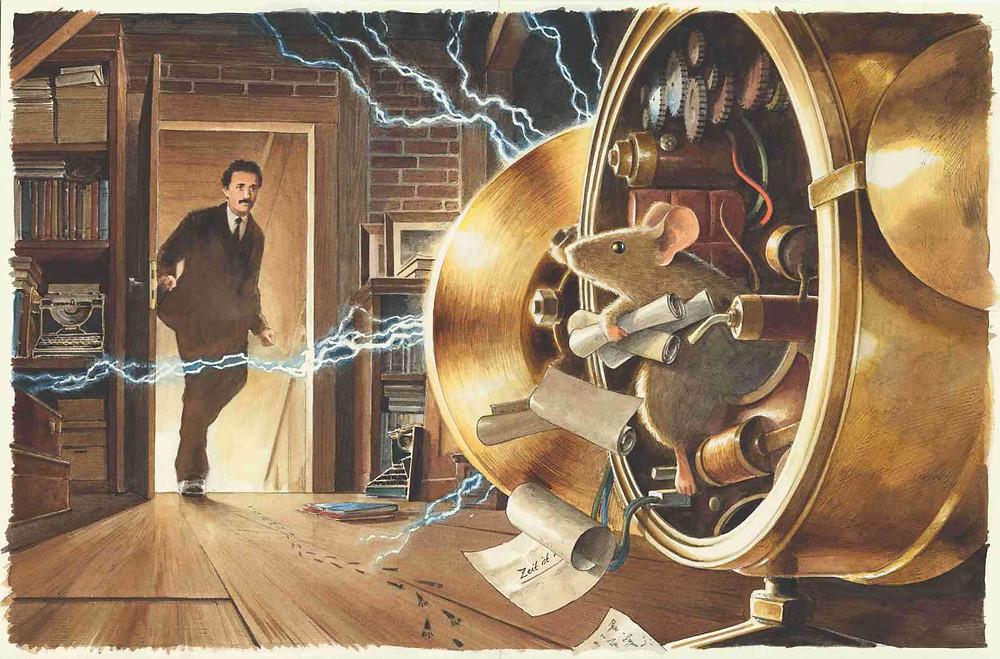 """Illustration Torben Kuhlmann, aus """"Einstein"""" (NordSüd Verlag, 2020): In letzter Sekunde"""