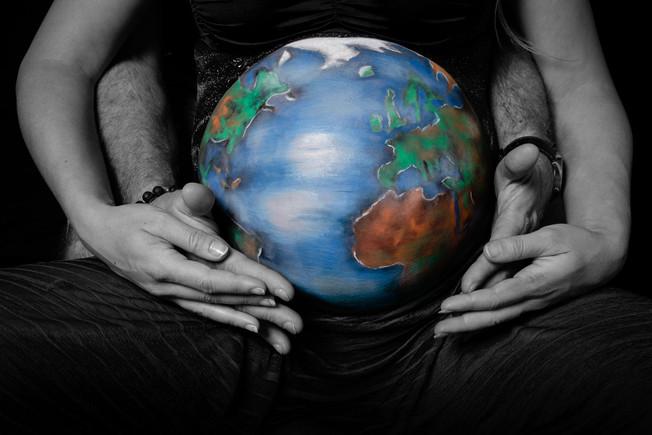Planète mappemonde - Belly Painting