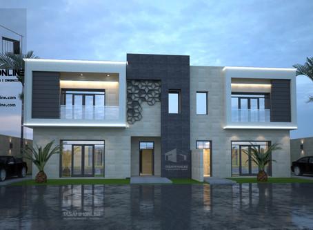 تصميم فيلا دوبلكس غير متماثل بمدينة الرياض
