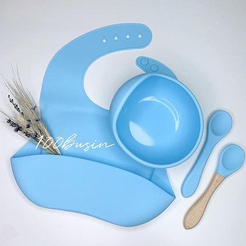 Тарелка силиконовая с нагрудником