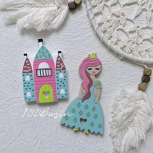 Принцесса и замок прорезыватель из пищевого силикона