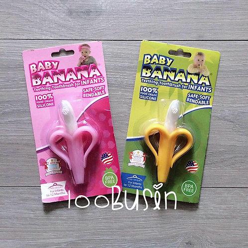 Прорезыватель щетка в форме банана из пищевого силикона