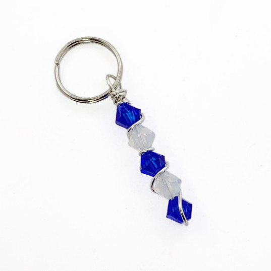 Blue & white crystals add on tag