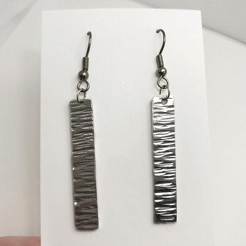 Silver Bar Earrings, Rain Pattern