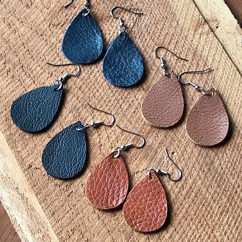 Leather Earrings Teardrop Style Small
