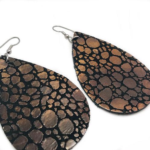 Black & Gold Dots LeatherTeardrop Earrrings