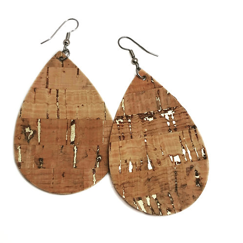 Cork Teardrop Earrrings