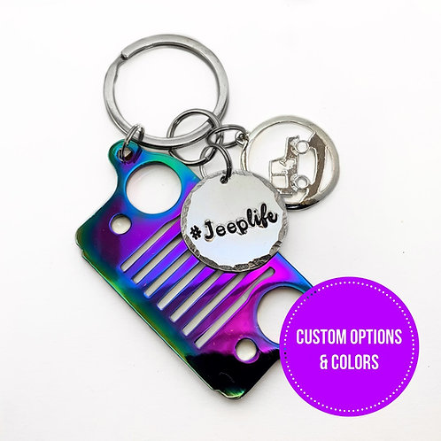 Jeep Grill Personalized Keychains