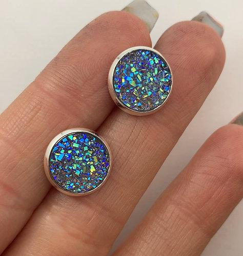 Blue Snow Druzy Earrings