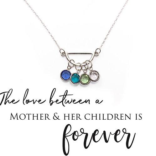 Half Moon Mothers Birthstone Necklace