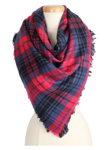 Plaid Blanket Scarf Blue & Red