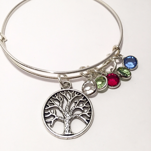 Mother's Custom Family Tree Bracelet with Birthstones