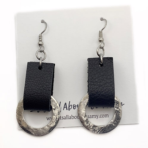 Leather and Silver Circle Earrings