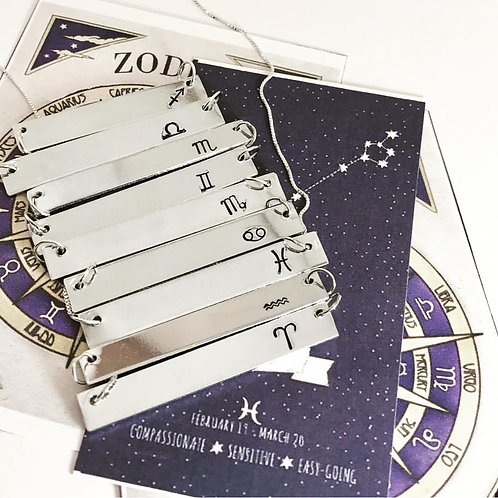 Zodiac Horizontal Bar Necklace