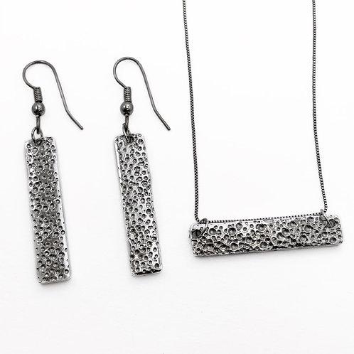 Silver Bar Earrings, Dots