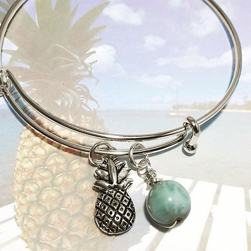 Pineapple Charm Bracelet with Larimar