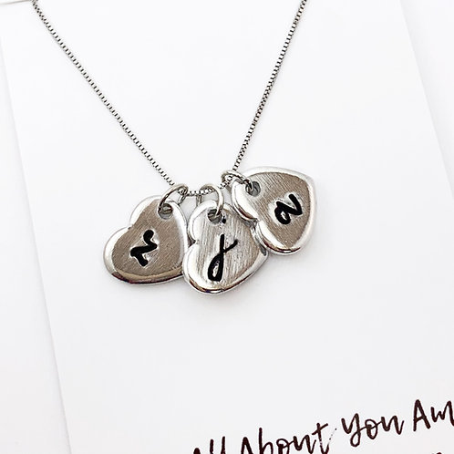 Personalized Hand Stamped Heart Charm Necklace