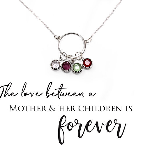 Mothers Birthstone Charm Necklace