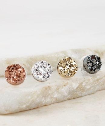 Druzy round post earrings