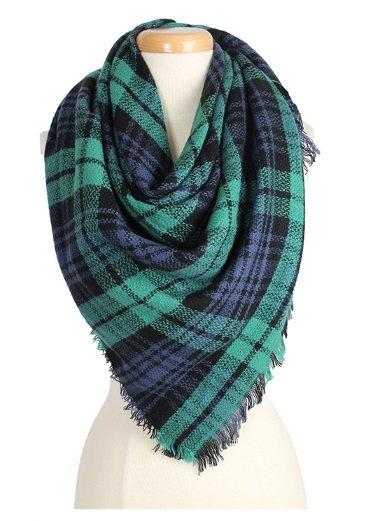 Plaid Blanket Scarf Green & Blue