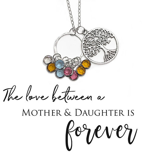 Mothers Birthstone Necklace with Tree Charm